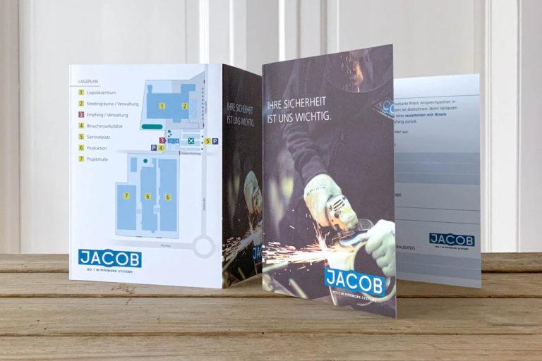 Jacob Rohrsysteme · Sicherheitsflyer mit Lageplan · Grafikstudio Carreira · Susi Carreira · Werbeagentur Bad Oeynhausen · Minden · Bünde
