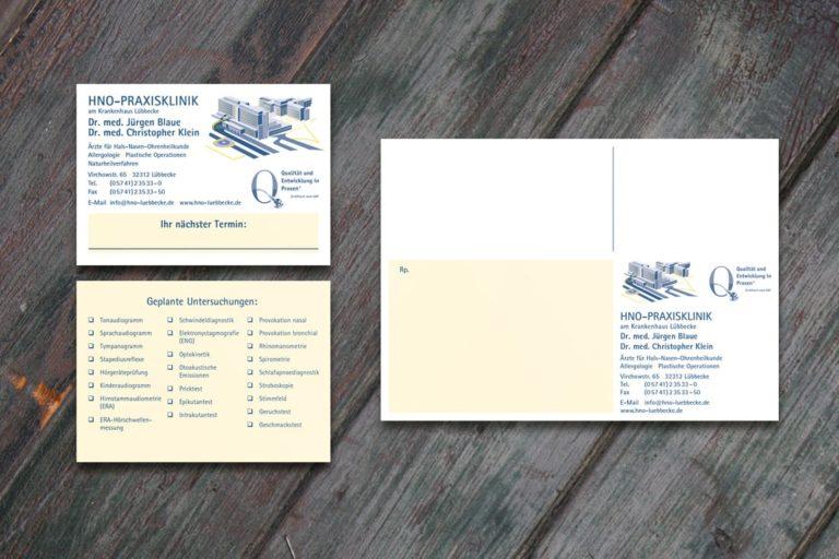 HNO-Praxisklinik · Drs. Blaue & Klein · Logo-Design · Grafikstudio Carreira · Susi Carreira · Werbeagentur Bad Oeynhausen · Minden · Bünde