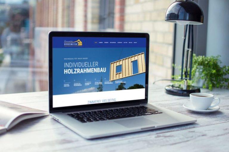 Zimmerei Birkemeyer · Responsive Webdesign · Grafikstudio Carreira · Susi Carreira · Werbeagentur Bad Oeynhausen · Minden · Bünde